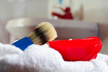 Set da Barba, pennello e sapone lavandino sfondo