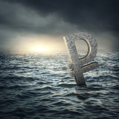 Ruble sign sinking in water