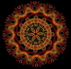 Mandala in fire colors on dark background