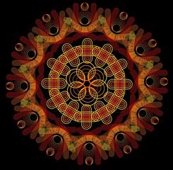 Mandala in fire colors on dark background