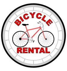 Label bicycle rental shaped as tyre with bicycle in the middle