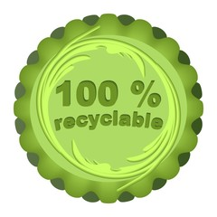 Circle green label for recyclable and eco friendly products
