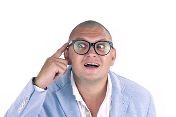 man thinking while doing a silly face with nerd glasses
