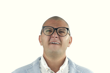 man doing silly face with nerd glasses isolated