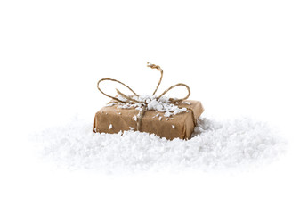 Stylized gift box as a Christmas gift on a white background