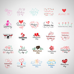 Valentines Day Icons Set - Isolated On Gray Background