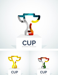 Abstract colorful logo design, cup