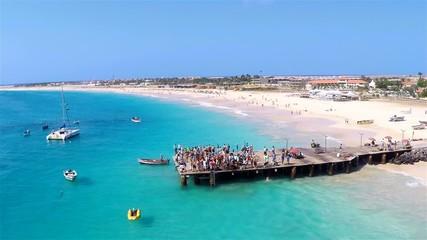 Aerial view of Santa Maria beach in Sal Cape Verde - Cabo Verde