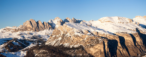 Dolomites winter panorama at the sunset