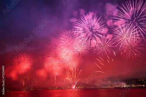 Staande foto Nacht havai fişekli kutlama