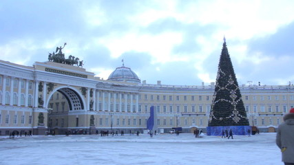 Christmas tree on Palace Square.St. Petersburg. Russia
