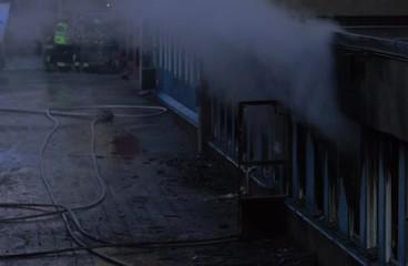 Smoke from burning building