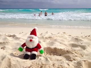 Christmas celebration on ocean beach