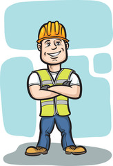 smiling cartoon construction worker with arms crossed