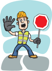 cartoon worker warning with stop sign