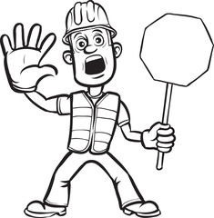 whiteboard drawing - cartoon worker warning with stop sign