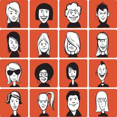 Set of doodle woman cartoon faces