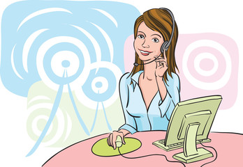 smiling business woman with headset by the computer