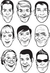 whiteboard drawing - smiling men faces set
