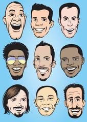 happy men faces set