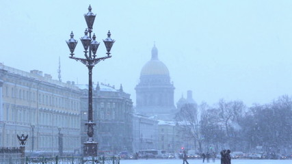 View of St. Isaac's Cathedral in the snow in the winter