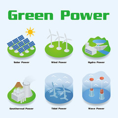 Green Power image illustration, vector