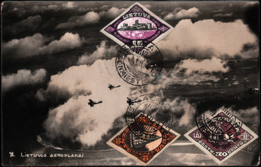 Vintage  postcard   Lithuanian aeroplanes  with postage stamps