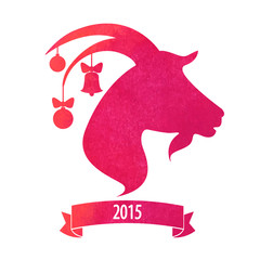 New Year of the goat 2015 poster or card vector design with the