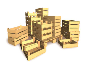 Boxes for packing a harvest of vegetables and fruit.