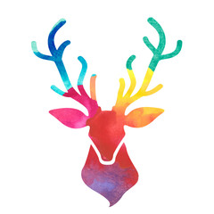 watercolor colorful deer head