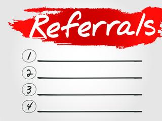 Referrals Blank List, vector concept background