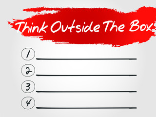 Think Outside The Box Blank List, vector concept background