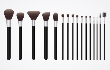Set of Cosmetic Brushes for Make up