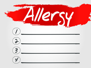 Allergy Blank List, vector business concept background