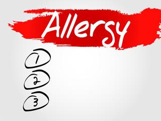 Allergy Blank List, vector business concept background