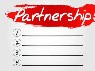 Partnership Blank List, vector business concept background