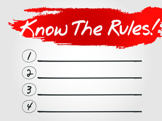 Know The Rules Blank List, vector business concept background