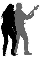 Singer women and bass