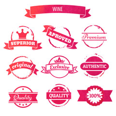 vector wine stain circles and retro stamps and badges isolated i
