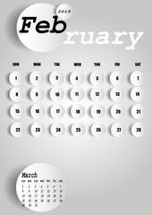 Vector 2015 Calendar Design - February