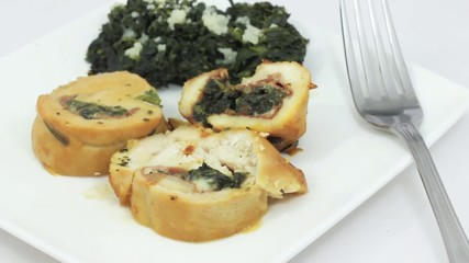Roast turkey with spinach