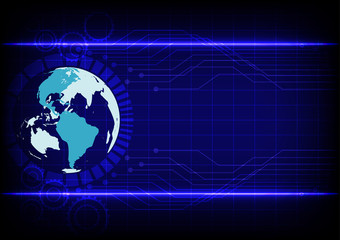 Abstract world technology electronic line blue background