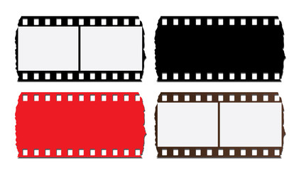 35 mm gold filmstrip isolated on white background