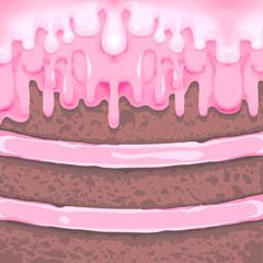 Piece of chocolate cake with cream