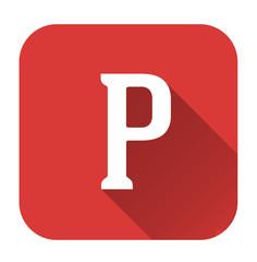 Letter p alphabet, flat icon