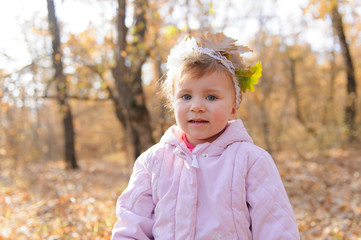 Girl with Leaves on Headband