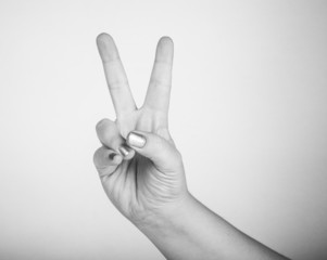 "hand gesture, meaning ""victory"""