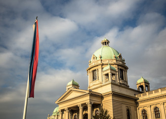 Serbian National Assembly building (Narodna skupstina) in Belgra