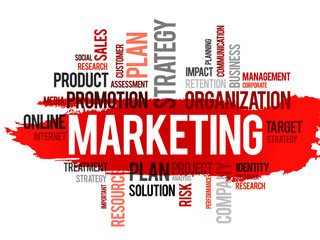 Word cloud of marketing related items, vector business concept