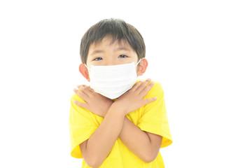 風邪に罹患した男の子